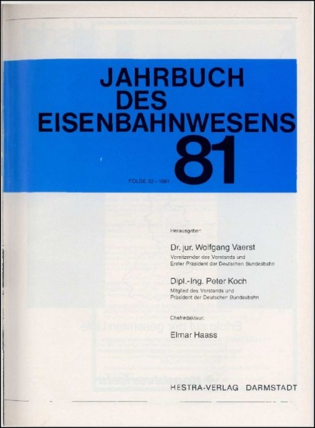 Jahrbuch des Eisenbahnwesens 1981, Band 32
