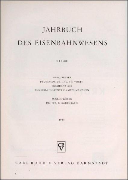 Jahrbuch des Eisenbahnwesens 1958, Band 9