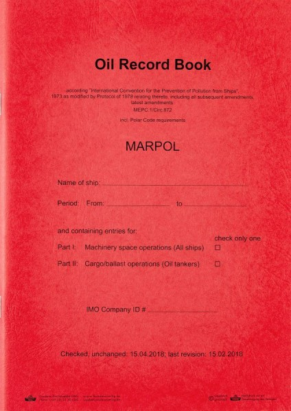 Oil Record Book / Öltagebuch