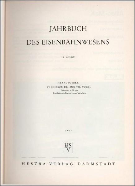 Jahrbuch des Eisenbahnwesens 1967, Band 18