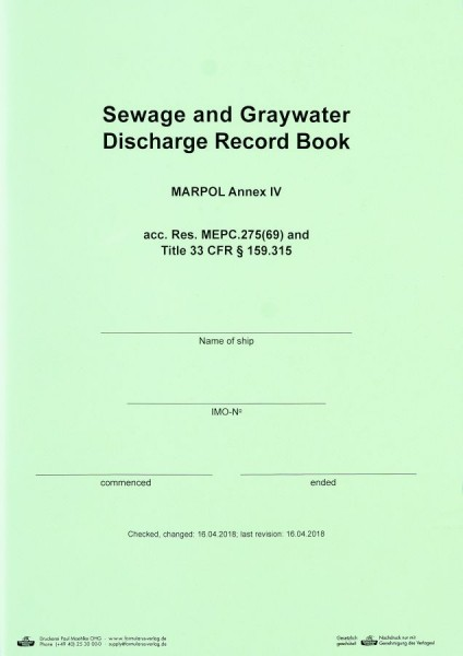 Sewage and Graywater Discharge Record Book